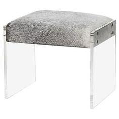 Alilah Modern Grey Hide Acrylic Stool | Kathy Kuo Home