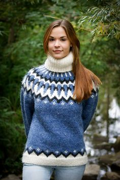 Love these turtleneck Lopi sweaters, just don't see as many of those. Nordic Sweater, Mohair Sweater, Wool Sweaters, Chunky Knitwear, Icelandic Sweaters, Sweater Knitting Patterns, Sweater Design, Comfortable Outfits, Sweater Outfits