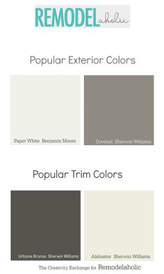 You can add major curb appeal by repainting your home -- but what colors? - You can add major curb appeal by repainting your home — but what colors? These exterior paint col - Siding Colors, Exterior Paint Colors For House, Paint Colors For Home, Exterior Colors, Exterior Design, Paint Colours, Room Colors, Painting Trim, House Painting