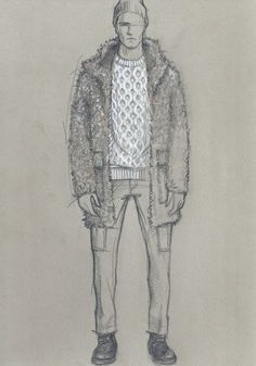 Todd Snyder pairs a shearling coat with a sweater and cargo pants for a Star Wars inspired ensemble. Todd Snyder Sketch