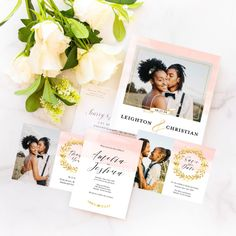 Flat lay of the Vintage Wedding Suite from the Martha Stewart for Mixbook Collection featuring an invitation, thank you card and photobook.