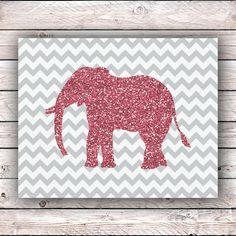 Glitter Elephant Chevron Printable Art Print Instant Digital Download Pink Glitter Elephant Hipster Wall Art Home Decor Housewarming Gift