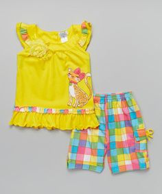 Loving this Yellow Cat Top & Plaid Shorts - Infant, Toddler & Girls on #zulily! #zulilyfinds