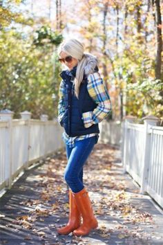 checked shirt with puffy vest