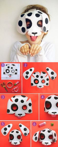 Woof!! Make your own puppy dog mask with printable templates at https://happythought.co.uk/templates/easy-printable-animal-masks