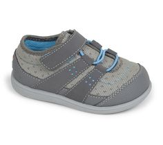 See Kai Run - Rainier Toddler Washable Runner in Gray features a flexible rubber outsole and adjustable hook-and-loop strap.