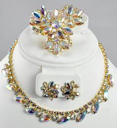 Stunning Vintage High- end Pastel AB Rhinestone Three Piece Parure Signed SHERMAN