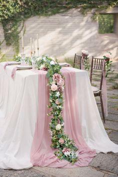 Greenery Garland, Flower Garlands, Dusty Rose Wedding, Wedding Flowers, Wedding Greenery, Wedding Table, Diy Wedding, Wedding Ideas, Cream Roses