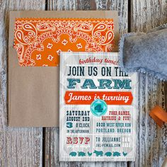Farm Party Invitation and Printable Bandana Envelope Liner. | Lia Griffith http://liagriffith.com/farm-party-invitation-printable-bandana-envelope-liner/