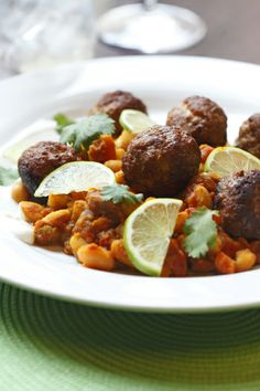 Lamb Meatballs with Curried White Bean Ragout (paired with Mumbai Mule) from Peasant Cookery, Winnipeg, Manitoba.
