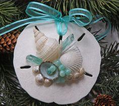 BEACH SANDOLLAR ORNAMENT Aqua No. 2, Christmas & wedding decor, nautical ornament, beach decor, beach Christmas, wedding favor