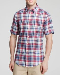 Brooks Brothers Short Sleeve Linen Button Down - Classic Fit