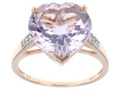 Stratify(Tm) 5.56ctw Heart Shape Orchid Amethyst,Round White Topaz 18k Rose Gold Over Silver Ring