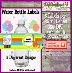 Printable Dinosaur Happy Birthday Water Bottle by DigiGraphics4u