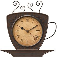 FirsTime Coffee Cup Wall Clock ($35) ❤ liked on Polyvore featuring home, home decor, clocks, brown, battery powered clock, battery powered wall clock, wall mount clock, battery operated wall clock and brown wall clock