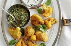 Cauliflower fritters with spiced yogurt