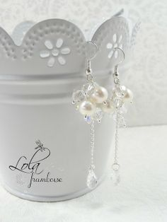 boucles d'oreilles de mariage perles cristal wedding earrings bridal earings swarovski beads