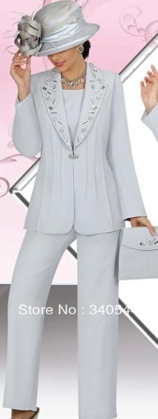 Elegent  3pc Mother of the Bride Pant Suits chiffon crysal and applique long sleeves pants outfit with jacket no cat and bag US $115.00