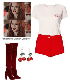 """""""Cheryl Blossom / Riverdale"""" by demiwitch-of-mischief ❤ liked on Polyvore featuring Aquazzura, Anine Bing, River Island and MoMo"""