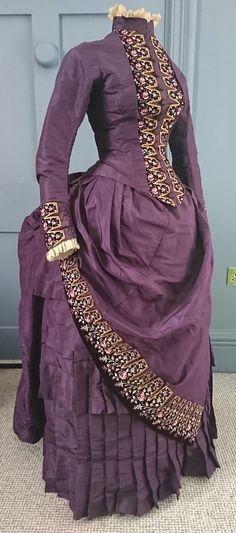 1880s Hand Embroidered Silk / Velvet Bustle Dress - Victorian Antique | eBay