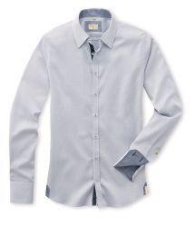 Q1 Hemd STEPHAN  in Weiß in Minimaldessin in Marine in 100% Baumwolle Slim Fit, Shirt Dress, Mens Tops, Shirts, Shopping, Dresses, Fashion, Cotton, Vestidos