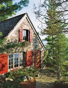 Looks like an old cottage on the Maine seashore. Love the stone house, black roof and red shutters. Stone Cottages, Cabins And Cottages, Stone Houses, Country Cottages, Cute Cottage, Cottage Style, Red Cottage, Cottage Living, Cottage Homes