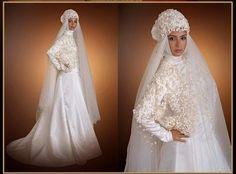 Turkish White Wedding Dresses with Veils for Moslem Bride