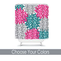 Monogram Shower Curtain Custom Personalized TRM Design pink-teal