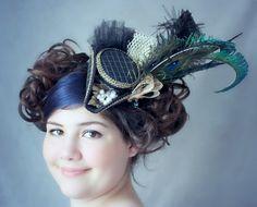 Bleu Tricorn Hat, Mini Tricorn ,Mini Tricorn Hat, Pirate Costume,Tricorn Ship Hat, Nautical Mini Hat, Sailor Costume, MiniTopHat, Fascinator by LittleMissHattitude on Etsy (null)