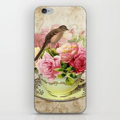 #pink #tea #flowers #floral #woman #girly #pretty #shabby #phonecase #spring available in different #homedecor products. Check more at society6.com/julianarw