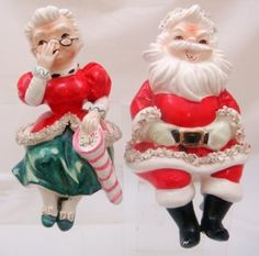 Vintage Lefton Christmas Figurines Santa and Mrs. Claus