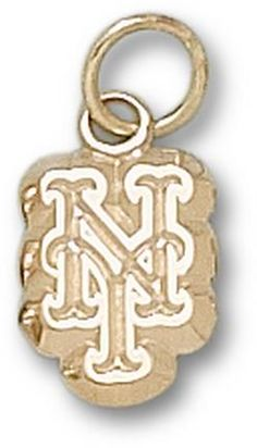 New York Mets NY 3/8 Charm - 10KT Gold Jewelry: Enjoy this official MLB licensed New York Mets charm. A… #Sport #Football #Rugby #IceHockey