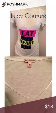 JUICY COUTURE TEE White V-neck Tee shirt with sequins. Size XS. Offers will only be considered through the 'OFFER' button. Juicy Couture Tops Tees - Short Sleeve