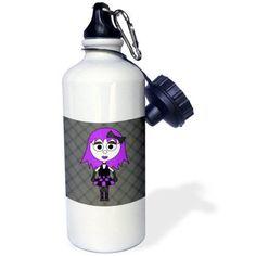 3dRose Cute Goth Punk Rock Girl Purple Grey, Sports Water Bottle, 21oz