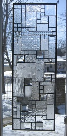 Tranquility Stained Glass Window Panel Abstract Geometric EBSQ Artist | stainedglassheirlooms - Glass on ArtFire