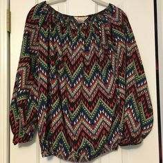 Colorful Patterned Dress Top Colorful patterned dress top. Has elastic on the sleeves, neck, and around the bottom of the waist. Scoop neck. Runs big and fits like a large. Gently used. Great condition R Bouge Tops Blouses