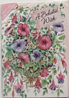 A belated wish Birthday card & envelope, flower themed, late birthday, brand…