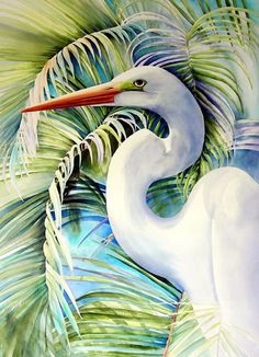 Kathleen Noffsinger watercolor painting  Palms, Great Egret