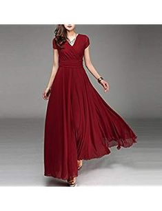 26436bd5043 Women s Boho Solid Chiffon V-Neck Cocktail Bridesmaid Evening Party Gown  Ball Prom Long Maxi