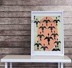 Artist Shanni Welsh's Geese art print. Geese wall décor. Scandinavian geese home décor. Geese poster. Bird art print. Whimsical bird print. Bird Poster.
