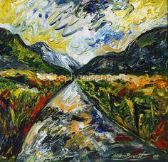 Road through the Bluestacks - Original painting inspired by a trip to the Bluestack Mountains by Donegal artist Stephen Bennett Romare Bearden, Irish Landscape, Irish Art, Irish Traditions, Donegal, Figure Painting, Landscape Paintings, Original Paintings, Art Gallery