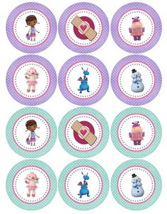 Printable Tags, Stickers, Cupcake Toppers, etc Doc Mcstuffins Cupcakes, Doc Mcstuffins Birthday Party, 2 Birthday, 4th Birthday Parties, Doctor Mcstuffins, Bottle Cap Images, Bottle Caps, Baby Party, Party Printables