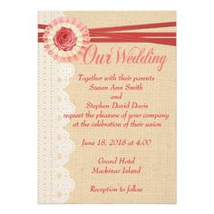 "Shabbychic Burlap and Lace Country Wedding Invitat 5"" X 7"" Invitation Card"