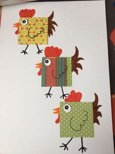 Use cardstock & construction paper & black chenille stems. Chicken Crafts, Chicken Art, Easter Art, Easter Crafts, Art For Kids, Crafts For Kids, Arts And Crafts, Art Projects, Sewing Projects