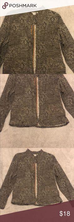 INC International Concepts Ruffled Linen Frayed-Trim Jacket Toad Stool XL