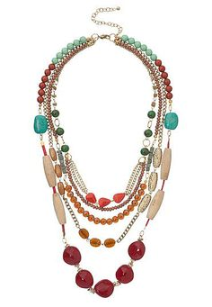 Multi color bead layered statement necklace (original price, $18) available at #Maurices