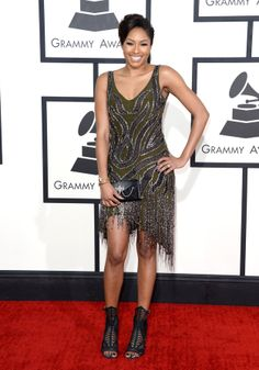 Alicia Quarles in Haute Hippie at the Grammy Awards Green Fashion, Red Carpet Fashion, Backstage, Los Grammy, Glamour, Haute Hippie, Rocker Chic, Celebrity Look, Red Carpet Dresses