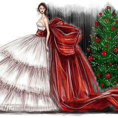 Being well dressed is a beautiful form of confidence, happiness & politeness Christmas Drawing, Christmas Art, Vintage Christmas, Xmas, Illustration Noel, Christmas Illustration, Fashion Design Drawings, Fashion Sketches, Fashion Illustrations