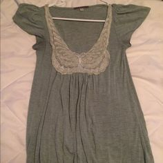 Butterfly neck top Grayish green color, pretty butterfly neckline with flowy cap sleeves and an elastic bottom. Very flattering on! Size medium from Julie's closet Tops Blouses