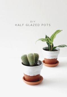 diy half glazed pots | almost makes perfect